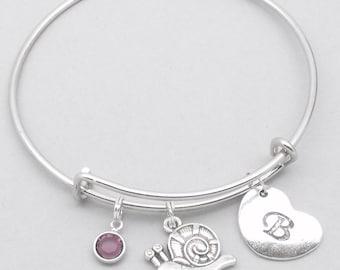 Snail heart initial charm bracelet | snail bangle | personalised snail bracelet | snail jewelry | snail gift