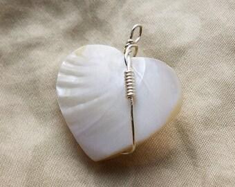 Shell Heart Wrapped Pendant