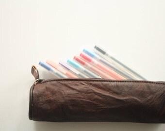Leather pencil case, pen case, pencil pouch, pencil holder, pencil bag, leather pen case, leather pouch