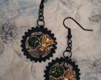 Steampunk Time Flies Earrings