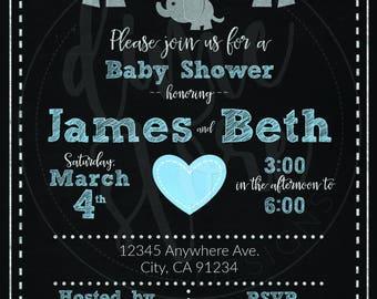 Boy's Elephant Baby Shower Invitation (Digital File)