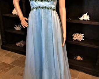 Look Like a Greek Goddess in this Vintage Baby Blue Formal Gown By Mike Bennet Formals   Size 9