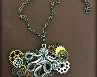 Octopus Necklace, Steampunk Nautical Necklace, Steampunk Statement Necklace, Nautical Necklace