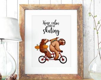 A3 Print Illustration Poster Sloth Skating P63