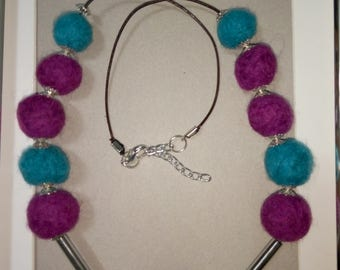 Exclusive Felted - wool necklace.Felt Wool Necklace.Felt necklace.Natural Necklace.