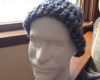 Handmade Blue and Grey Beanie Hat