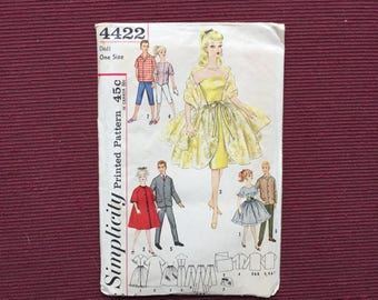 Simplicity 4422 Doll Teen Model and Boyfriend Pattern for Barbie, Others