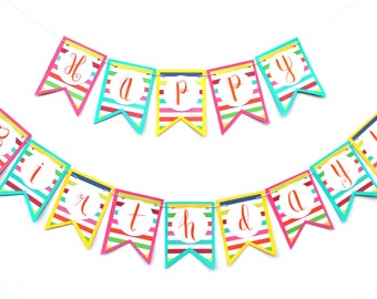 "Bright Stripes Banner - ""Happy Birthday!"""