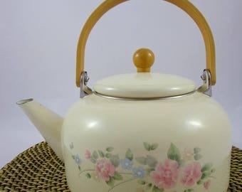 Floral Enamelled Kettle | Tea Pot | Boiler | Country Style Water Boiler