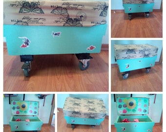 A small chest on wheels. Decorates the hallway of the house.