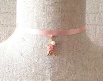 Paris Eiffel Tower charm choker necklace, rose gold faux pearl necklace