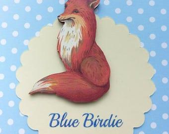 Happy Fox brooch fox jewelry fox badge wooden fox brooch fox jewellery vintage look fox jewelry fox gift