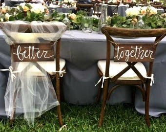 Better Together Wood Chair Signs, Better Together Signs, Wood Chair Signs, Wood Signs, Wedding Chair Signs, Wedding Signs