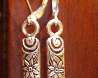 Sterling silver patterned bar earrings