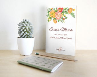 Mass marriage booklet combines with invitations. Orange and red floral style.