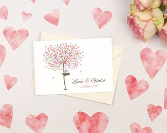 Wedding invitations with tree of love. Romantic and simple. Custom wedding invitations.