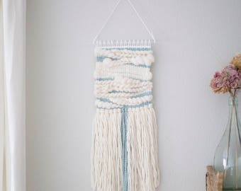 White and blue wall hanging \\ Weave \\ MTO \ hand woven wall hanging \ tapestry \ handwoven wall art \ blue nursery decor \ blue home decor