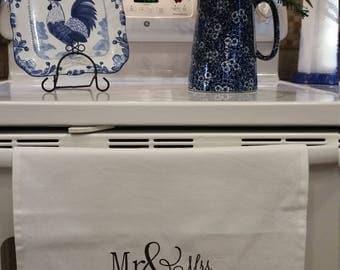 Mr. & Mrs. Embroidered Kitchen Towel