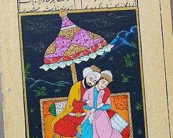 ORIGINAL PAINTING Arabian Night, Turkish Miniature Painting, Islamic Fine Art, Persian Painting, Gift for Her, Islamic Painting