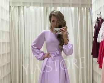 Light Purple Dress Bohemian Lavender Dress Party Woman Dress