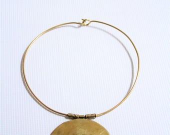 Brass plate statement neckpiece