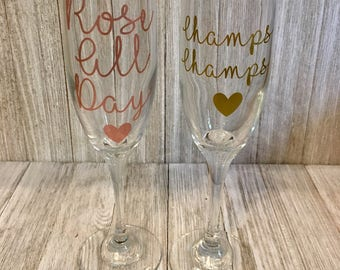 Rose All Day/ Champs Champagne Flute /Custom Champagne Flutes