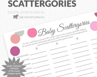 baby scattergories game baby shower game pink polka dots baby girl