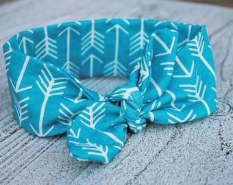 Top knot headband, baby headband, stretch headband, newborn top knot headband, teal headband, girl headband, baby shower gift