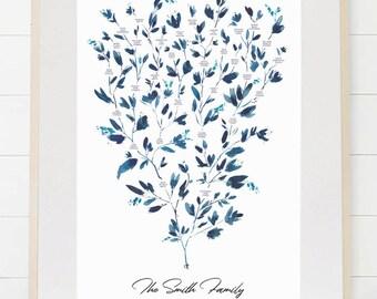 Family Tree, Custom Family Tree, Family History, Family Tree Chart, Family Tree Print, Wall Art, up to 5 Generations, Watercolor Eucalyptus