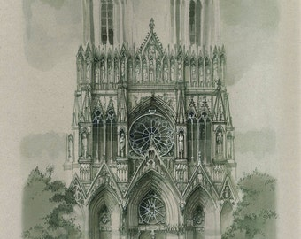 Painting in the technique of graphic ink and watercolor, the Gothic Cathedral in Reims