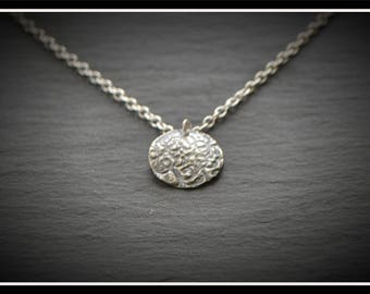 Engraved Circle Pendant - Silver Precious Metal Clay (PMC), Handmade, Necklace - (Product Code: ACM021-17)