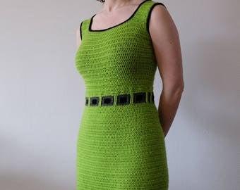 DUTCH PATTERN Haakpatroon limoengroene mouwloze damesjurk met reliëfvierkanten / PDF patroon jurk met vierkanten / haken Apilou Veritas