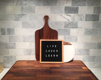"""10"""" x 10"""" Vintage Oak and Black Felt Letter Board with Adjustable Letters"""
