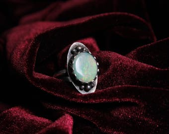Witchy Iridescent Opal Oxidized Silver Ring