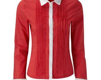 Fever London Womens/Ladies Red White Polka Dot Long Sleeve Shirt Product Code: FEVKIRED