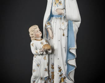 "Beautiful 14"" Antique Porcelain Statue of Saint Gerard w Child Jesus St Gerardus Figurine Religious Figure Holy 1"