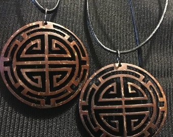 Chinese Family Crest inspired Coconut Shell Pendant