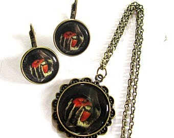 Gothic Snow White poison apple necklace & earrings