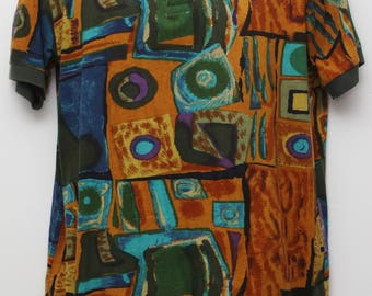 "Rare 90's Vintage ""IN CLOTH"" Abstract Patterned Polo Shirt Sz: MEDIUM (Men's Exclusive)"