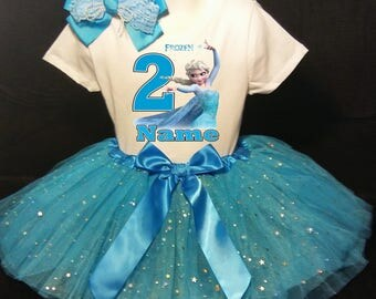 FROZEN***With NAME*** Elsa 2nd second 2 Birthday  Tutu Dress Fast Shipping party Shirt & Tutu outfitTurquoise blue Personalized