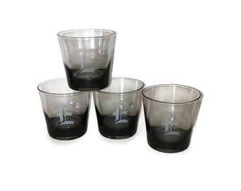 Vintage Engraved Lowball Glasses // Vintage Letter E Glasses // Set of Personalized Letter E Glasses // Engraved Barware // Monogrammed