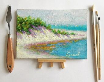Oil painting 6x8 original artwork painted landscape for interior designer classic fine art home hall living room bedroom small decor salatov