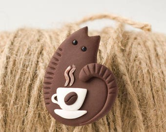 Funny Coffee Cat Brooch handmade polymer clay jewelry Pin cup of coffee cute brown cat kitty