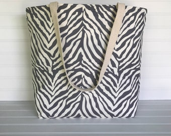 Handmade Everyday Tote | Market Bag |  Gray Zebra Print Tote