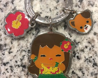 Hawaiian Hula Girl Charms Keychain