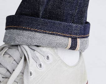 Selvedge Denim Jeans Mid-Rise Fitted Straight Leg