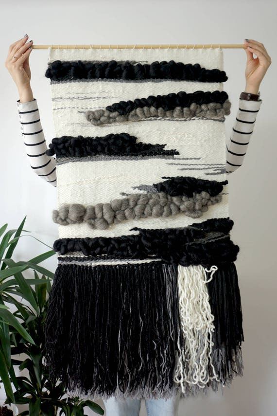 Black clouds | Handwoven wall hanging