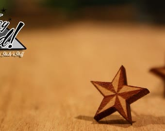 Nautical Star Stud Earrings - Laser Cut Wood