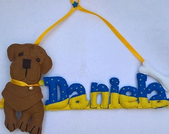 Letters of felt with Sharpei dog name.