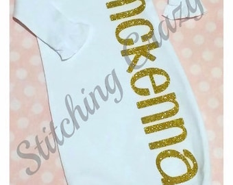 Baby Layette Gown with Name